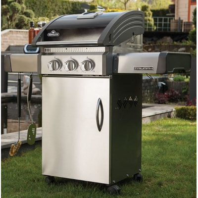 Napoleon T325SBPK Triumph 325 Liquid Propane Gas Grill with Three Burners 35500 BTUs Stainless Steel Construction Folding Side Shelves Cast Iron Cooking Grids and