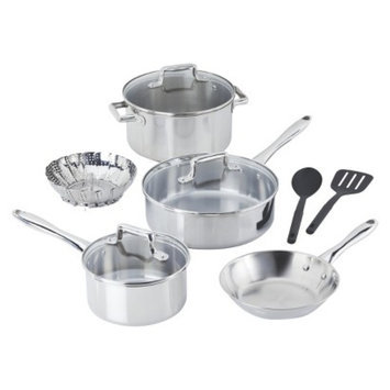 T-Fal T-fal 10 Piece Stainless Steel Copper Bottom Cook Set