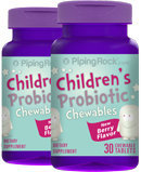 Piping Rock Chewable Probiotic for Kids 2 Bottles x 30 Chewable Tablets