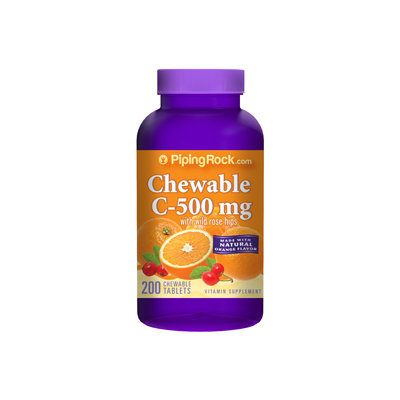 Piping Rock Chewable Vitamin C 500mg - Orange 200 Tablets
