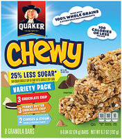 Quaker® Less Sugar Chewy Granola Bars Peanut Butter Chocolate Chip