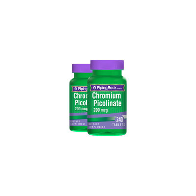 Piping Rock Chromium Picolinate 200 mcg 2 Bottles x 240 Tablets