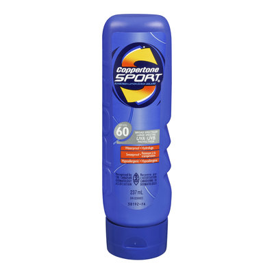Coppertone Sport Sunscreen Lotion, Waterproof, SPF 60, 237 mL