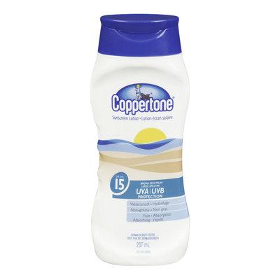 Coppertone Sunscreen Lotion, Waterproof, SPF 15, 237 mL