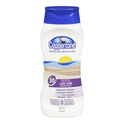 Coppertone Sunscreen Lotion, Waterproof, SPF 30, 237 mL