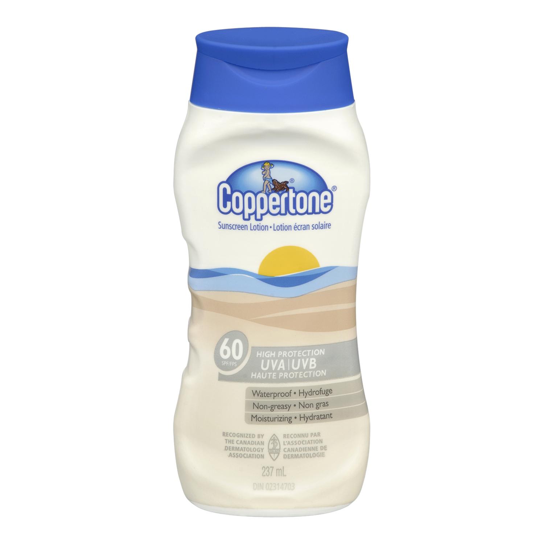 Coppertone Sunscreen Lotion, Waterproof, SPF 60, 237 mL