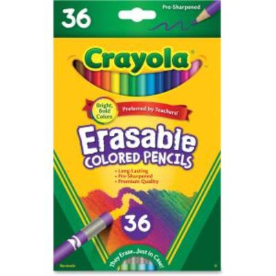 Crayola CYO-681036 Erasable Colored Pencils - 3.3mm Lead Diameter - Thick Point - Assorted Lead - 36 / Each