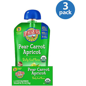 Earth's Best Organic Pear Carrot Apricot Stage 3 Baby Food Puree