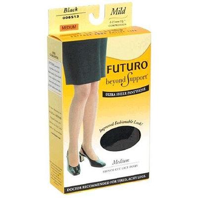 Futuro Energizing Pantyhose, Ultra Sheer, French Cut, Lace Panty, Mild, Medium, Black