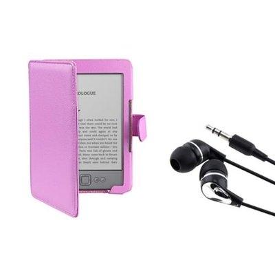 Insten INSTEN Purple Leather Hard Case Pouch+In ear Headset For Amazon Kindle 4 5 th Gen