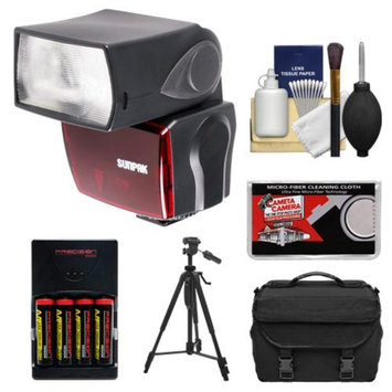Sunpak PF30X Electronic Flash Unit (Nikon i-TTL) with 4 AA Batteries & Charger + Tripod + Case + Cleaning Kit for D3200, D3300, D5200, D5300, D7000, D7100, D610, D800, D4s Digital SLR Cameras