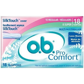 o.b. Pro Comfort Tampons, Super Absorbency, 18 Count (Pack of 6)