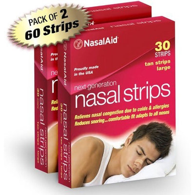 NasalAid® NasalAid Nasal Strips, Large, Tan, 30-Count Boxes (Pack of 2)