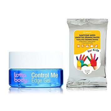 Lottabody Coconut & Shea Oils Control Me Edge Gel 2.25oz with (Sanitizing Wipes)