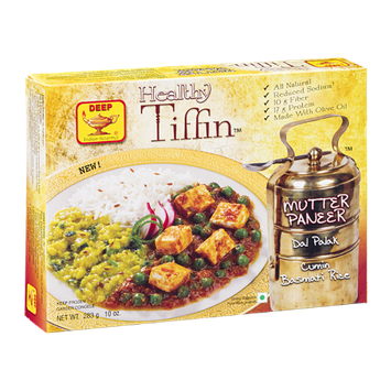 Deep Healthy Tiffin Mutter Paneer Dal Palak Cumin Basmati Rice