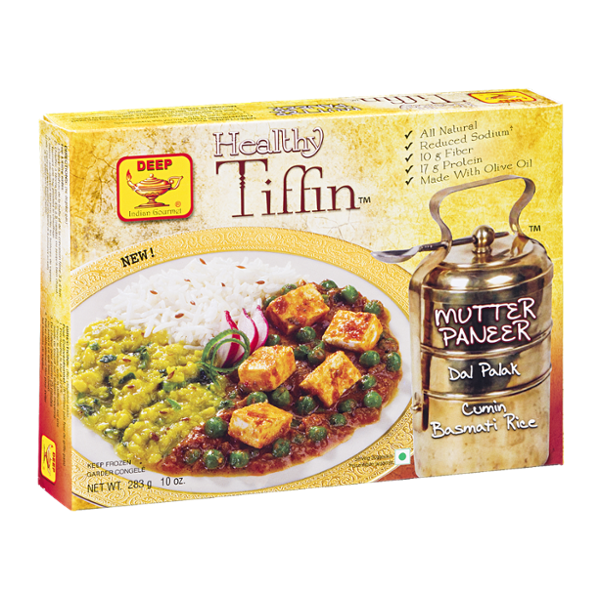 Deep Healthy Tiffin Mutter Paneer Dal Palak Cumin Basmati Rice