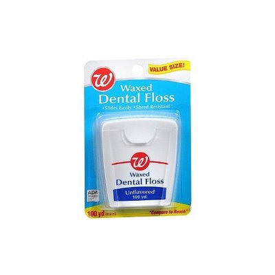 Walgreens Unflavored Waxed Dental Floss, 100 yd