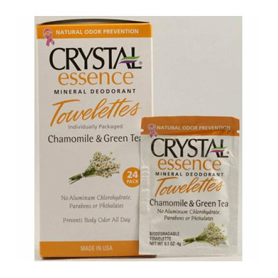 Crystal Essence Mineral Deodorant Towelettes Chamomile and Green Tea 24 Towelettes