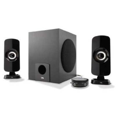 Cyber Acoustics 2.1 3-Piece Flat Panel Computer Speakers With Subwoofer, Black