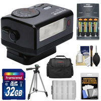 Fujifilm EF-X20 Shoe Mount Electronic Flash with 32GB Card + Batteries & Charger + Case + Tripod Kit for Fuji X-A1, X-E1, X-E2, X-M1, X-T1, X-Pro1 Cameras