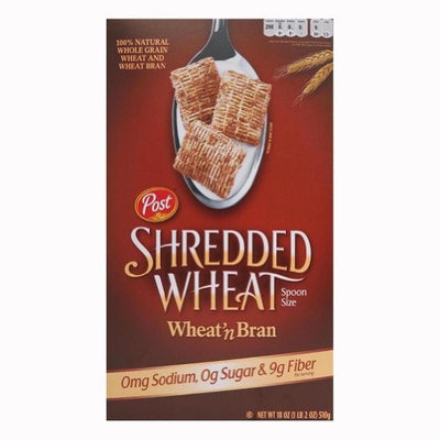 Post Shredded Wheat ' Bran, Spoon Size, 18-Ounce Boxes (Pack of 5)