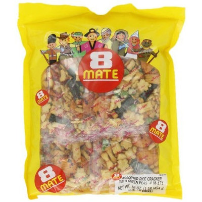 Shirakiku 8 mate Arare Assorted Rice Cracker with Green peas, 16-Ounce Units (Pack of 2)
