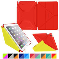 iPad Air 2 Case - roocase Origami 3D iPad Air 2 2014 Slim Shell Case Smart Cover with Sleep / Wake for Apple iPad Air 2 (2014) 6th Generation Latest Model, Testarossa Red / Tangerine Yellow
