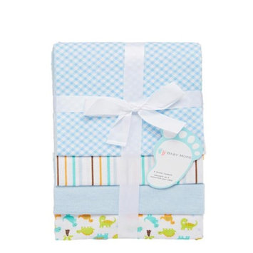 Baby Mode 28 x 32 Blue Dinosaurs & Stripes Receiving Blankets - Set of 4