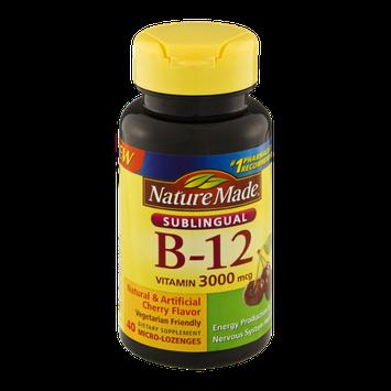 Nature Made B-12 Sublingual Vitamin 3000mcg Cherry Dietary Supplement Micro-Lozenges - 40 CT
