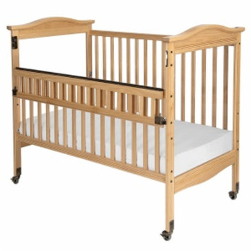 Child Craft Kingswood Professional Child Care SafeAccess Full-Size Crib, Clearview Ends, Natural, 1 ea