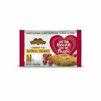 Corazonas Oatmeal Squares Cranberry Flax Case of 12 1.76 oz