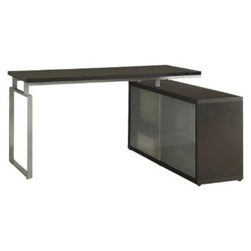 Monarch Specialties Writing Desk: Monarch Hollow Core L-Shaped Desk with Frosted Glass -