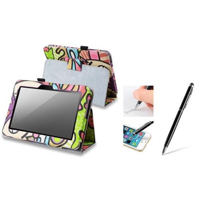 Insten INSTEN Graffiti Leather Case + Black 2in1 Capacitive Touch Stylus with Ballpoint Pen For Amazon Kindle Fire HD 7