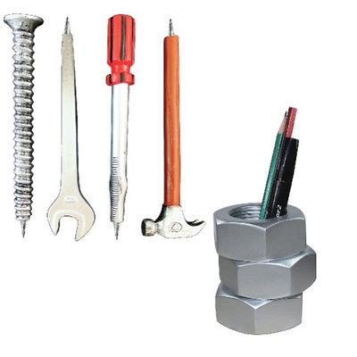 Johnson Smith (Set) Handyman Desktop Gift Pack w/ 4 Tool Shaped Pens & Hex Nut Pen Holder