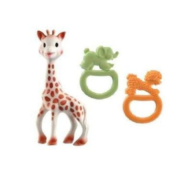 Sophie the Giraffe and Vulli Vanilla Ring Teethers with Dainty Baby Reusable Bag Bundle