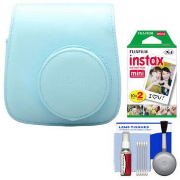 Fujifilm Groovy Camera Case for Instax Mini 8 (Blue) with 20 Twin Prints + Cleaning Kit