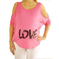 Mommylicious Maternity Cold shoulder dolman top with Love in lace lettering.