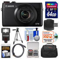 Canon PowerShot G7 X Wi-Fi Digital Camera with 64GB Card + Case + Flash + Tripod + Kit