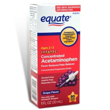 Equate - Acetaminophen Fever Reducer / Pain Reliever Concentrated Infants' Drops, Grape Flavor 1 oz