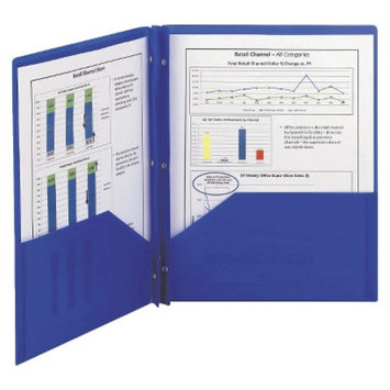 Smead 8-1/2 x 11 Poly Two-Pocket Folder With Fasteners- Blue (25 per