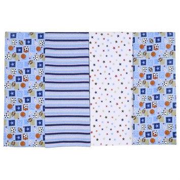 Koala Baby Sports 4 Pk Flannel Blankets