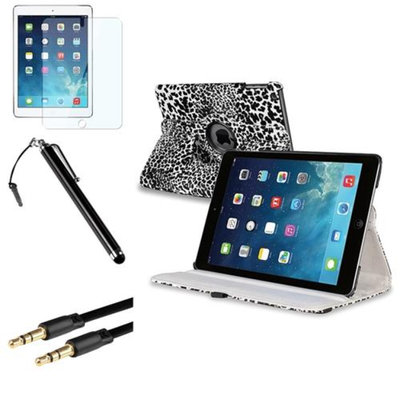 Insten INSTEN White/Black Leopard 360 Leather Case Cover+Pen+Cable For Apple iPad Air 5 5th