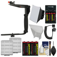 Stroboframe Quick Flip 350 Flash Bracket with Off-Camera Cord + Soft Box + Reflector + Batteries Kit for Canon EOS 6D, 70D, 7D 5D Mark II III, Rebel T3, T3i, T4i, T5, T5i, SL1