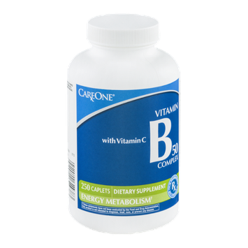 CareOne Vitamin B 50 Complex Caplets with Vitamin C - 250 CT