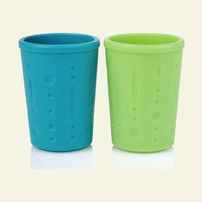 Kinderville Bigger Bites Silicone Cups, Set of 2, Blue and Green