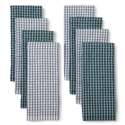 Room Essentials Grid Kitchen Towel Set of 4 - Turquoise