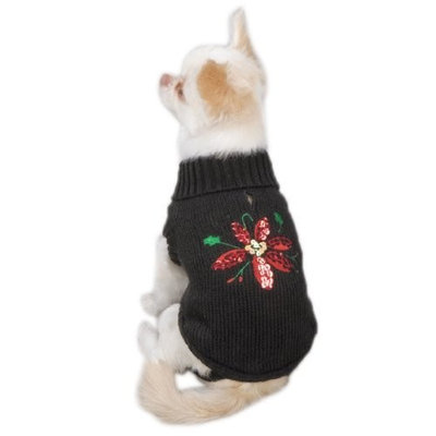 Zack & Zoey Poinsettia Pet Sweater - Black