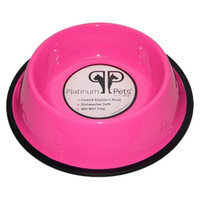 Platinum Pets Stainless Steel Embossed Non-Tip Dog Bowl - Pink (2 Cup)