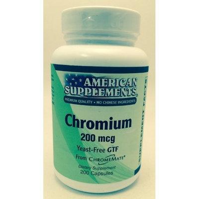 Chromium 200 MCG No Chinese Ingredients American Supplements 200 Caps