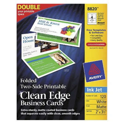 Avery 2 x 3-1/2 Folded Two-Sided Clean Edge Business Cards, Inkjet-